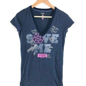 PINK Victoria's Secret Deep V-Neck SAVE ME T-Shirt